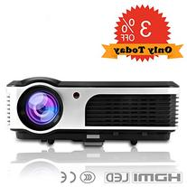 "CAIWEI HD Movie Projector, LED 2600 Lumen Max 150"" 16:9 4:3"