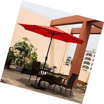 Ollieroo Patio Umbrella Tilt Red Aluminum 9FT Outdoor Market