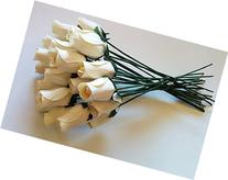 24 Beautiful Realistic Ivory White Wooden Roses by Aariel's
