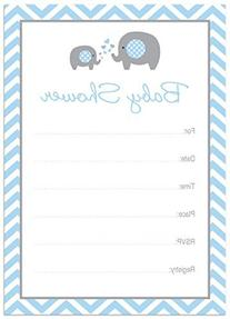 24 Cnt Blue Elephant Baby Fill-in Invitations
