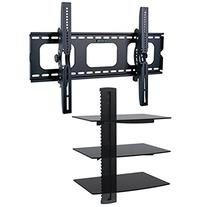 2xhome - TV Wall Mount with Shelf Up to 85 inches tv