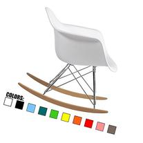 2xhome White - Eames Chair Rocker White Eames Rocker Molded