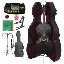 Merano 3/4 Size Black Cello with Hard Case, Bag and Bow+2