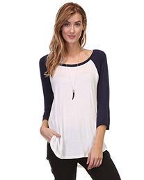 Ladies 3/4 Raglan Sleeves Stripe Tunic Top