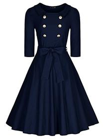 Miusol Women's 3/4 Sleeve Classy Casual Belted Vintage Retro