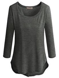 Doublju Sleeve Round Neck Slim Fit Curved Hem T-Shirt