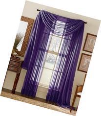 3 Piece Dark Purple Sheer Voile Curtain Panel Set: 2 Purple