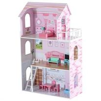 3 Floor Wooden Dollhouse Cottage with Furniture - Pink