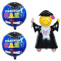3 Graduation Balloons 1 Black Jumping Grad 40 inches X-Large