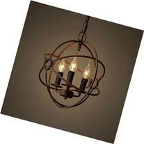 Perfectshow 3-Lights Vintage Edison Metal Shade Round