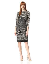 Gabby Skye Women's 3/4 Sleeve Printed Dress, Tan/Black, 10