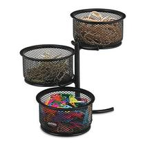 Rolodex 3 Tier Wire Mesh Swivel Tower Paper Clip Holder, 3 3