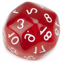 30 Sided Translucent Red with White Numbers Polyhedral Dice