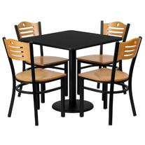 Flash Furniture Square Laminate Table Set with 4 Wood Slat