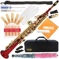 300-BU-BLUE/GOLD Keys Bb STRAIGHT SOPRANO Saxophone Sax