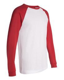 Bella 3000 Mens Jersey Long Sleeve Baseball Tee - White &