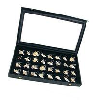 FindingKing 32 Earring Jewelry Display Case Clear Top Black