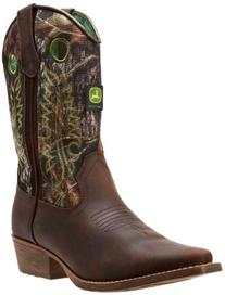 John Deere 3248 Western Boot ,Camo/Green Stitch,4 D US Big