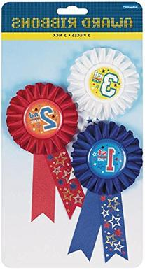 Amscan 330860 Award Ribbon, 6-Inch, 1st 2nd and 3rd Place, 3