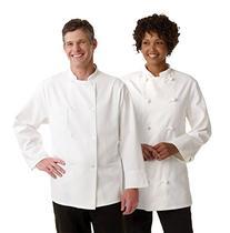 Medline 335ERS38 Coat - Chef - Long Sleeve - White - Size 38