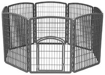 IRIS 34'' Exercise 8-Panel Pet Playpen with Door, Dark Gray