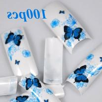350BUY 100 Spring Butterfly Style Acrylic False French Nail