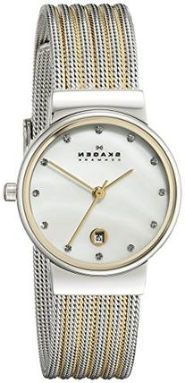 Skagen Women's 355SSGS Ancher Two Tone Silver and Gold Mesh