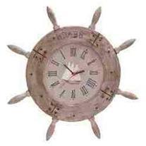 Benzara 38759 Wood Ship wheel Clock 20 in. D Nautical