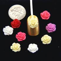 PUEEN 3D Nail Charms Wheel of 24pcs Resin & Alloy