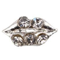 350buy 10pcs Fashion 3D Silver Alloy Lip Rhinestones For