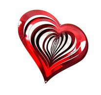Shipityourway 3D Wind Spinner Heart Red Metal Reflective