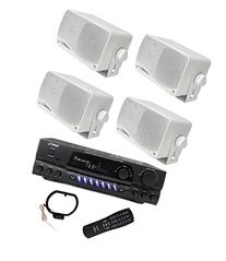 4) PYLE PLMR24 200W Outdoor Speakers + PT260A 200W Stereo