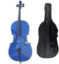 Merano 4/4 Full Size Blue Cello with Hard Case, Bag and Bow+