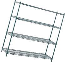 "Nexel 4-Shelf  Wire Shelving Unit, Green Finish, 18""W x 24""L"