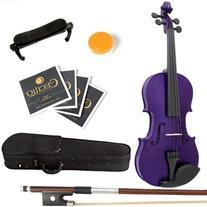 Mendini 4/4 MV-Purple Solid Wood Violin with Hard Case,