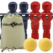 4 Red & Blue Tournament Style Foosball Men & 2 Yellow Balls