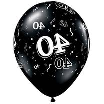 "11"" 40 Around Onyx Black Latex Balloons"