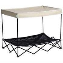 Pawhut 40 Elevated Mesh Pet Cot Bed with Canopy - White &
