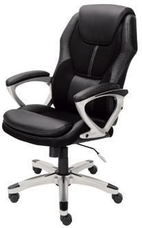 Serta 43673 Faux Leather & Mesh Executive Chair, Black