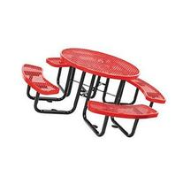 "46"" Round Metal Picnic Table, Surface Mount. Red"
