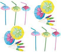 48 Hibiscus Parasol Umbrella Straws + 144 Matching Parasol