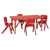 5 Piece 48 Rectangular Classroom Table and Chair Set, Red