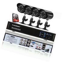 Floureon 4CH 960H Onvif DVR Digital Video Recorder + 4 x