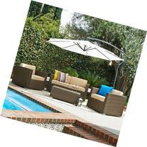 5 Pcs Patio Wicker Sofa Set with Cantilever Umbrella