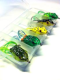 wLure 5 Hollow Body Topwater Frogs Fishing Lures Baits with