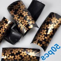 50 Stunning Black Gold Flora Style False French Acrylic Nail