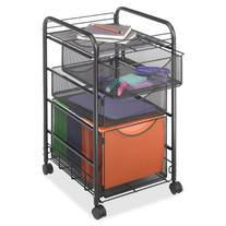 Safco Products 5213BL Onyx Mesh File Cart with 1 File Drawer