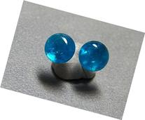 6mm Neon Blue Apatite and Sterling Silver Post Earrings