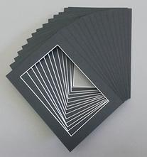 Pack of 25 5x7 Black Picture Mats with White Core Bevel Cut