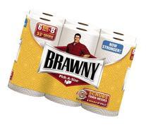 Brawny 6 Big Rolls, A-Size, White, 3 Count